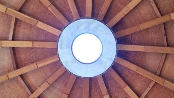 Looking up at the very top-center of Integratron dome.