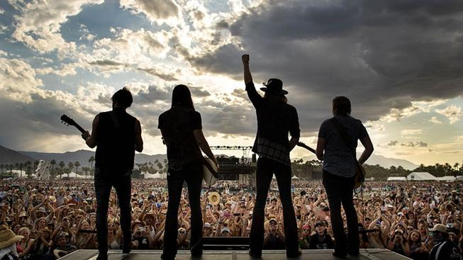 Silhouette of band at Stagecoach Music Festival