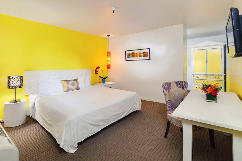 Single King guest room with a bright yellow wall and accents