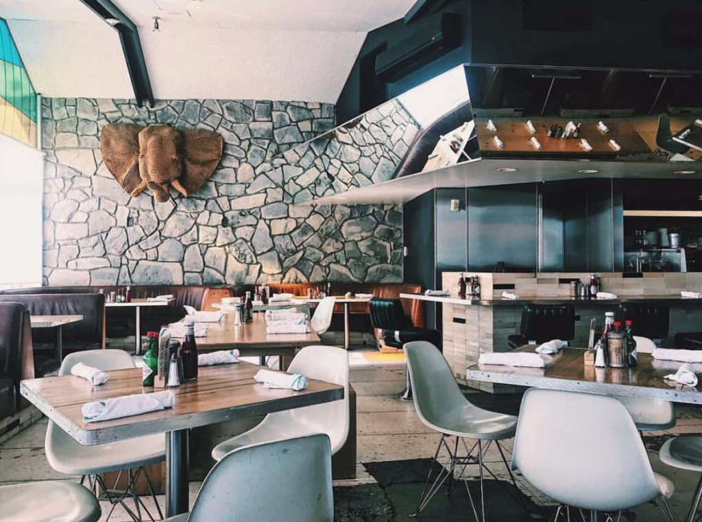 Dining room at the Ace Hotel's King's Highway in Palm Springs, CA